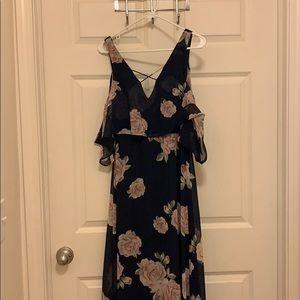 Lulus Navy floral maxi dress